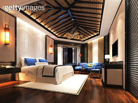 3d render. Luxury hotel bedroom.