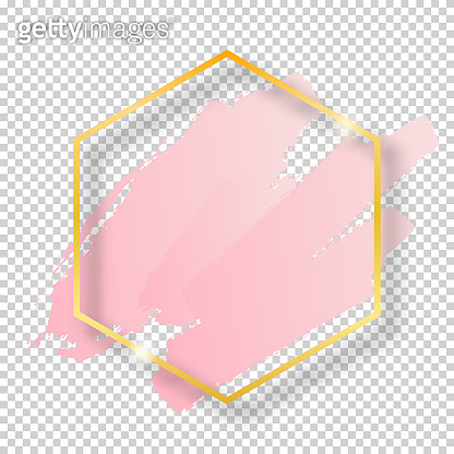 Vector golden shiny vintage hexagon frame with brush strokes isolated on transparent background. Luxury glowing realistic border