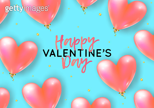 Vector holiday romantic illustration with realistic 3D flying bunch of air balloon hearts, confetti. Trendy Valentine's Day invitation, poster or festive greeting card