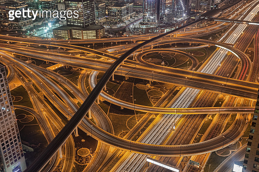 Dubai with highways at night in United Arab Emirates