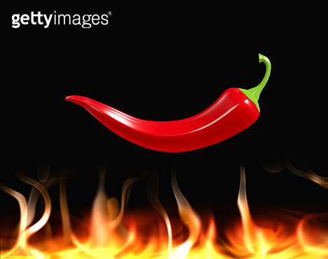 Hot red chili peppers over fire. 3D render