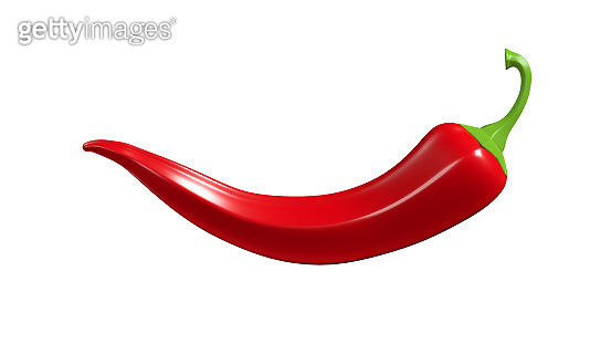 Hot red chili peppers on a white background. 3D render