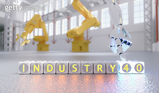 cyborg robot hand shows industry 4.0 sign - ai concept - 3d rendering