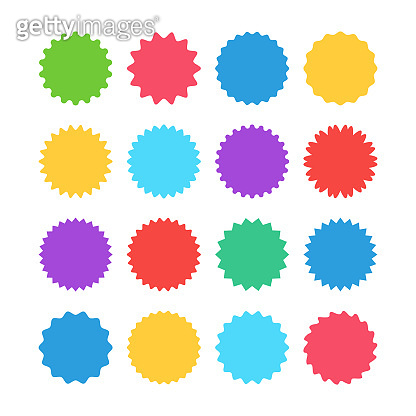 Colorful sunburst stickers, starburst badges set. Red labels, blue stickers, green color, purple and yellow price tags. Vector illustration isolated on white background