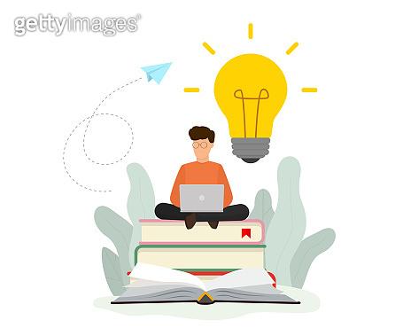 Knowledge online concept. Online training courses, online book, distance education. Vector illustration. Flat design. EPS 10.