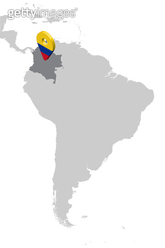 Colombia Location Map on map South America. 3d Colombia flag map marker location pin. High quality map of Colombia.  Vector illustration EPS10.