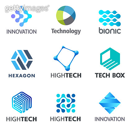 Set of tech vector design elements. Electronics and technology icons. Tech sign template.