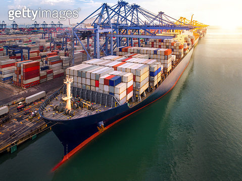 Container port and container ship transportation
