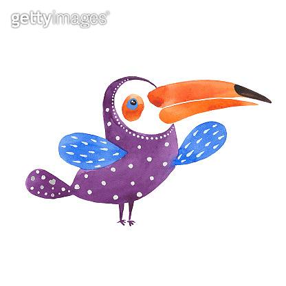 watercolor purple toucan