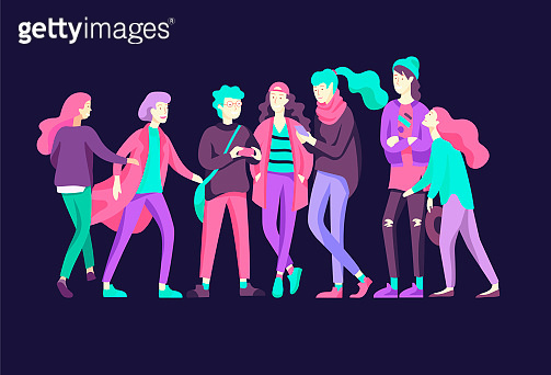 Vector people friends character. Group of teenagers in winter or autumn trendy clother