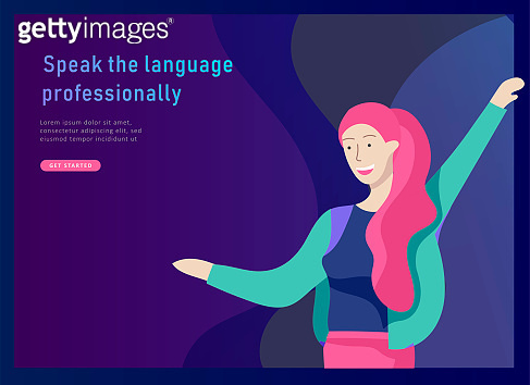 Landing page templates for Online language courses, distance education, training. Language Learning Interface and Teaching Concept.