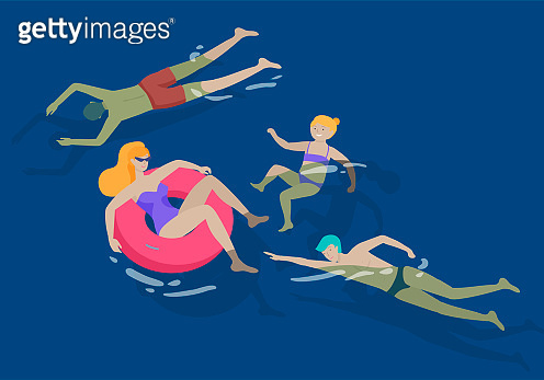 People family and children in sea, pool or ocean performing activities. Men or women swimming in swimwear, diving, surfing, lying on floating air mattress, playing ball. Cartoon vector