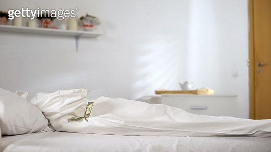 One dollar lying on bed in hotel room, tips from visitors, cleaning service