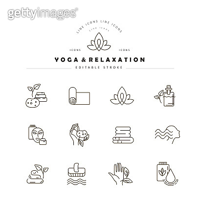 Vector icon and logo for yoga or relaxation. Editable outline stroke