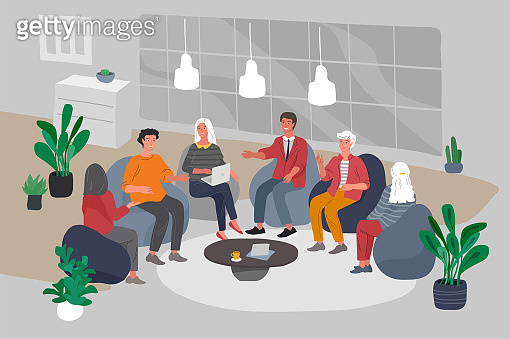 Office interior with group workers sitting and have teamwork meeting or brainstorming. Successful team gathering. Group of young people, startup company at workplace. Vector cartoon