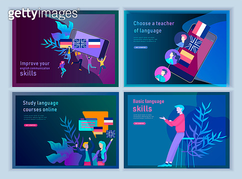 Set of Landing page templates for Online language courses, distance education, training. Language Learning Interface and Teaching Concept.