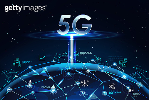 5G network digital hologram, big data and internet of things on Global network background. 5G network wireless systems.