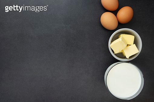 Baking food ingredients. Flat lay cooking pastry mockup, gray background with copy space.