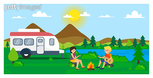 Camping illustration outdoor activity concept. Summertime camp. Flat design.Vector