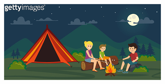 Camping illustration outdoor activity concept. Evening camp. Flat design.Vector