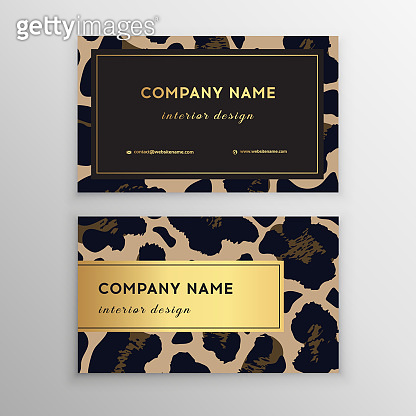 Business card trendy leopard pattern. Wild animals business card.