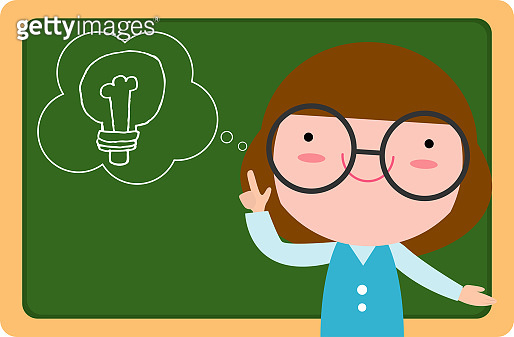 Cute little girl thinking idea and chalkboard,Cute kid imagine in classroom with space for your text, children girl education concept with chalkboard and bulb background template. vector illustration
