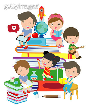 set of school kids in education concept, back to school,children in classroom. Vector Illustration.