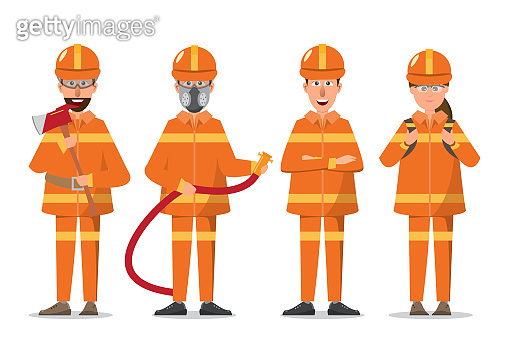 Firefighter or fireman and woman in uniform