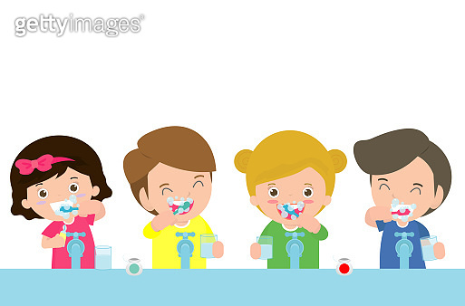 illustration of Kids Brushing a Tooth ,Little children take care of and clean a tooth. cartoon child characters - Vector