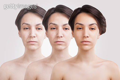 comparative portrait of asian woman of three ages/ young adult, mature adult, senior adult