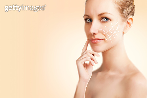anti aging and skin treatment conceptual portrait of young woman
