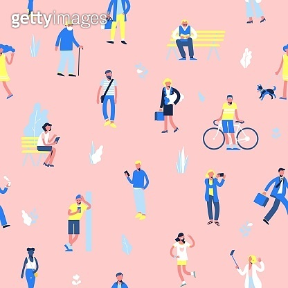 Seamless background with set of people in different situations - walk, use smartphone, ride bike, relax.