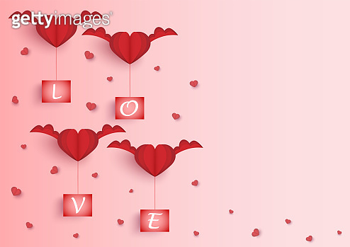 red heart shape with wings and love word on board vector background, love and valentine day concept, space for text or message design