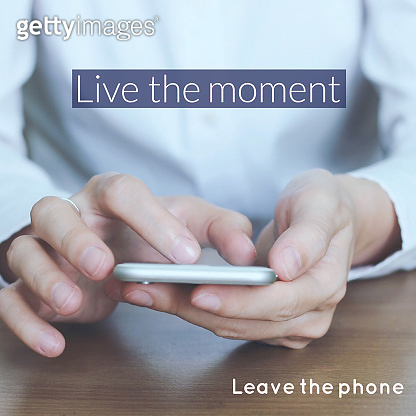 Quote word and concept photo of smartphone addiction
