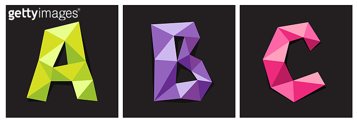 Vector illustration of alphabet letters ABC in origami style. Polygonal Colorful Letters