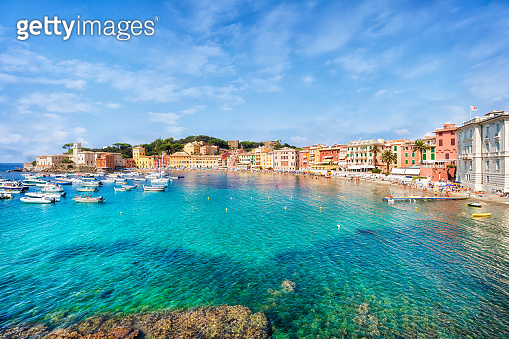 Public beach of Italian Sestri Levante in summer