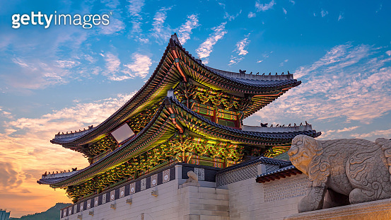 The Gate of Gyeongbokgung palace at twilight Seoul South Korea