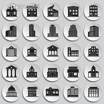 Buildings icons set on plates background for graphic and web design. Simple vector sign. Internet concept symbol for website button or mobile app.