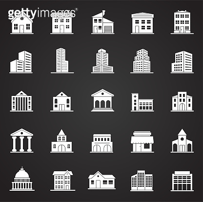Buildings icons set on black background for graphic and web design. Simple vector sign. Internet concept symbol for website button or mobile app.