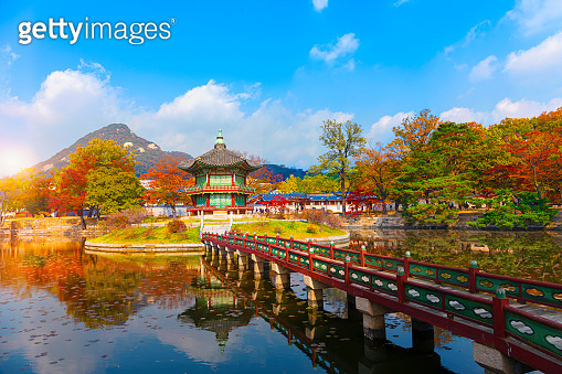 Autumn in  Gyeongbokgung palace, Hyangwonjeong Pavilion, in Seoul,South Korea