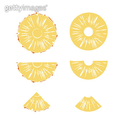 Cut slices of ripe pineapple on a white background