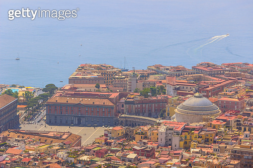 Naples skyline: panoramic view of main square Piazza del Plebiscito with Basilica Reale Pontificia Saint Francis of Paola, Italy.