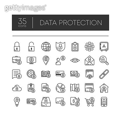 Set of 35 line icons of data protection for modern concepts, web and apps on white background. Vector illustration.