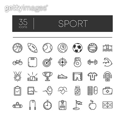 Set of 35 line icons of sport for modern concepts, web and apps on white background. Vector illustration.