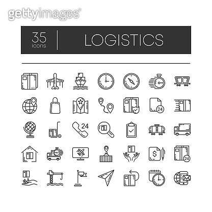 Set of 35 line icons of logistics for modern concepts, web and apps on white background. Vector illustration.