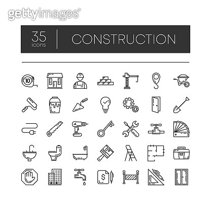 Set of 35 line icons of construction for modern concepts, web and apps on white background. Vector illustration.