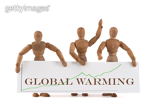 wooden mannequin protesting with posters - friday for future - global warming