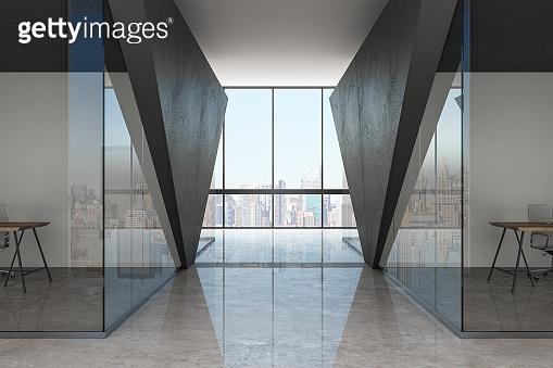 Contemporary glass corridor