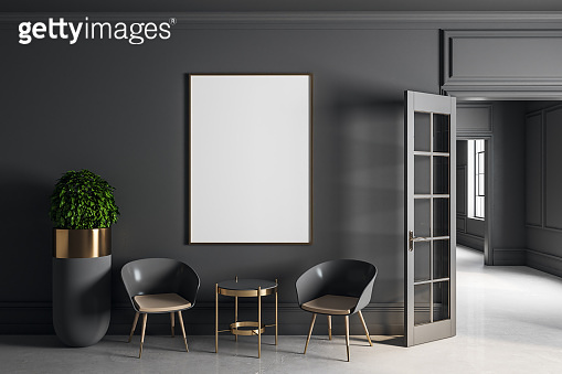 Modern grey interior with poster