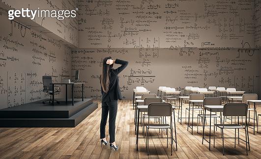 Woman in modern classroom